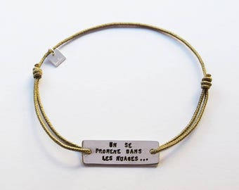 Mens bracelet personalized silver, message, adjustable cord