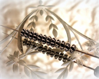 10 oxidized sterling silver wire bali spacer beads 6mm x 2mm