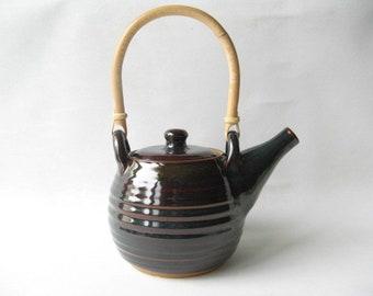Pottery Teapot, Stoneware Teapot, Handmade Teapot, 4 Cup Teapot, Blue Teapot, Bamboo Handle