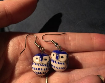 Dark Blue Owls Ceramic earrings