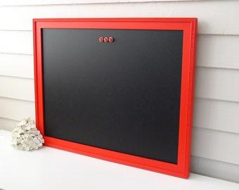 "MAGNETIC CHALKBOARD - Framed Office Organizer - 20.5 x 26.5"" Cottage Magnet Board with Handmade White Wood Frame - Menu Board"