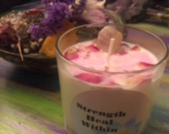Manifesting crystal love candle