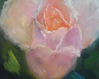 "Pink Rose Painting, Flower Still Life, Small Floral Oil Painting, 6x8"" Original Art, Free Shipping in US"