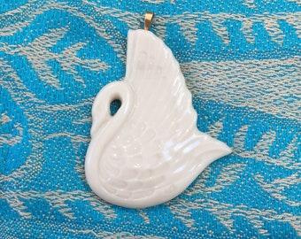 Vintage white swan pendant