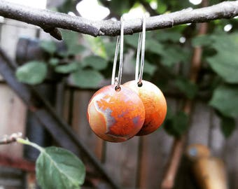 Copper Textured Botanical Earrings