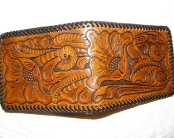 Hand-Tooled  Leather Wallet / Tan Cactus Flower