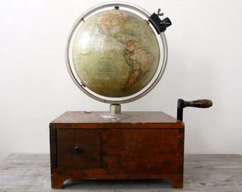 Steampunk German Tellurion World Globe -  Wagner & Debes - Circa 1918 - Crank - Handle - German Design - Industrial Decor - One of a Kind