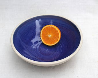 Deep Blue Fruit bowl - Handmade Ceramic Bowl - Handmade Stoneware Pottery - Ready to Ship
