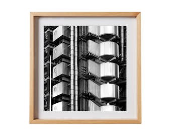 Lloyd's Building Print.  Architectural photography, print, black and white, buildings, London, decor, wall art, artwork, large format photo.