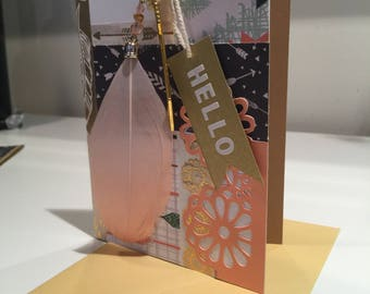 Boho Hello card with feather and arrow charms