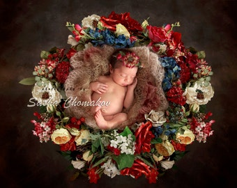Digital background flower wreath nest  newborn girl backdrop
