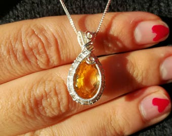 Drop necklace, citrine and silver quartz