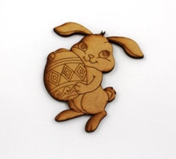 Lasercut Craft Wood Rabbit and Egg – Set of 2. 90 mm Wide Rabbit and Egg. Made of Craft Wood Perfect for Embellishing, Wood Crafts