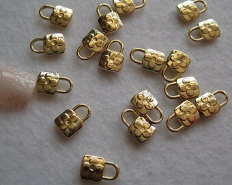 MP-10 5pcs Fancy Gold Lock Metal Charms DIY Jewellry Pendants Nail Art Pendant