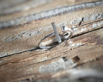 T Bar Ring, Sterling Silver Stacking Ring