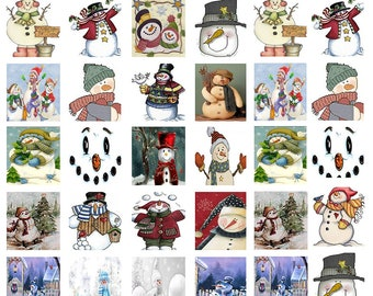 Christmas Snowmen - Ceramic Waterslide Decal - Enamel Decal - Fusible Decal - 85139