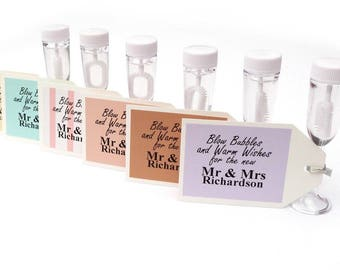 24 x personalised wedding bubbles- blow bubbles and warm wishes custom tags