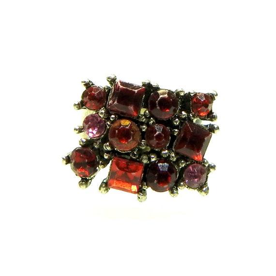 One red ring boho jewelry with  tiny rhinestones
