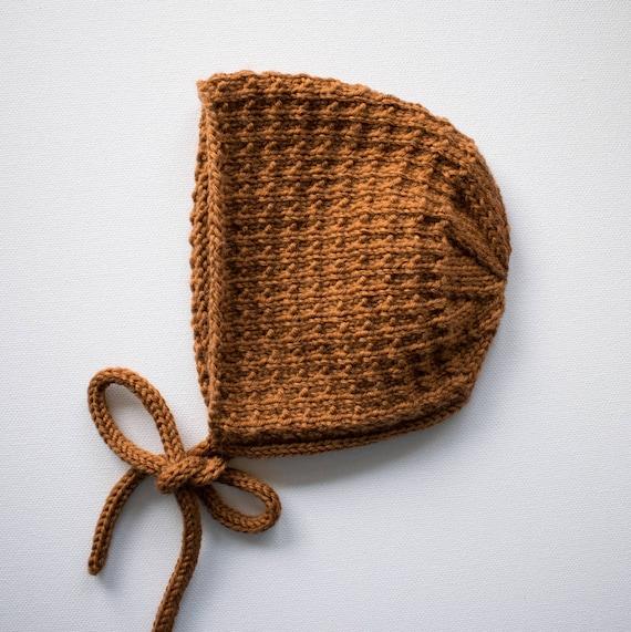 Bracken Bonnet in Toffee Merino Wool - Sizes Newborn to Age 24 months - Pre-Order