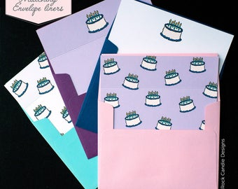 Printed Matching Envelope Liner | A2 Sized Liner | Happy Birthday Bestie Card | Card for Sister or best friend | Birthday Cakes Envelopes