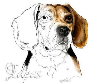 Beagle Art Dog Digital Stamp | Digital Download | DigiStamp Dog Portrait | Dog Clip Art | Scrapbooking Clipart | Paper Crafts