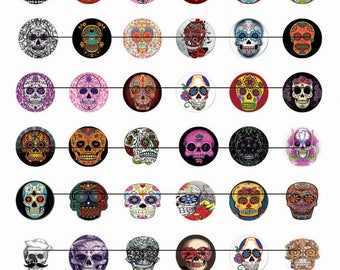 Digital images for cabochon Mexican skull image transfer