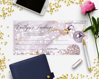 Gift Certificate Printable - Gift Certificate Download - Printable Gift Certificate   Gift Certificate Design - Jewelry 2-17