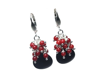 Earrings Classic-Onyx, Red Coral and Sterling Silver 598