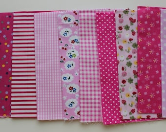 Pink color quilt set fabric. 9 pieces 20x30cm
