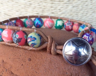 Handmade Beaded Single Wrap Bracelet - colorful polymer clay beads with pewter star button closure