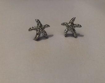 Faux silver finish starfish earrings