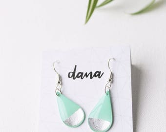 mint and silver earrings minimalist earrings everyday earrings simple earrings lightweight earrings contemporary jewelry unique gift for her