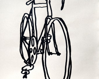 Bicycle Art  Print - Racycle Bike on Nideggen Paper