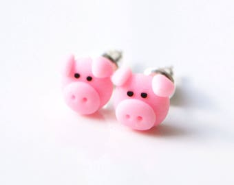 Schwein Ohrstecker Ohrringe, Fimo, polymerclay, Miniatur
