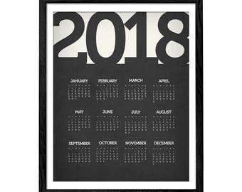 Wall Calendar 2018. Modern calendar unique calendar 2018 wall calendar print minimal calendar year planner new year gift 2018 calendar