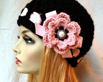 Crochet Womens Hat, Black Beanie, Pink Flower and Ribbon, Pearl, Soft Chunky, Birthday Gifts for Her JE410BF4