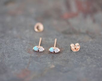 Opal and CZ stud earrings
