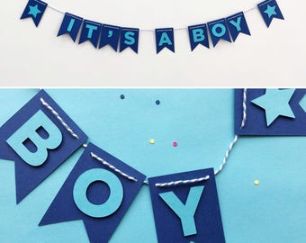 Baby Shower Decoration - Baby Shower Garland - New Baby Banner - Handmade Party Banner - It's A Boy - Paper Party Decoration