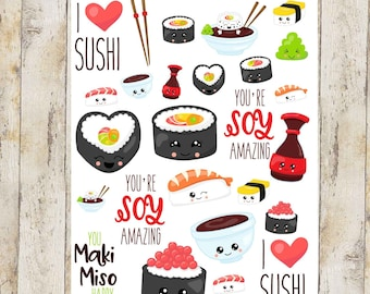 Sushi stickers for planners, calendars and other crafts
