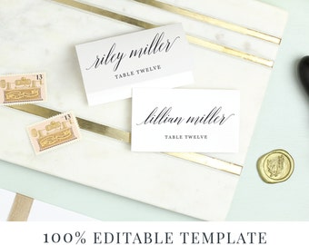 Wedding Invitations Paper Etsy - Wedding invitation templates: wedding place card size