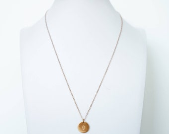 """Custom Large Disc Necklace, Hand-Stamped, Dainty Necklace, 1/2"""" Disc, 14k Gold Fill, Rose Gold Fill or Sterling Silver, Initial Necklace"""