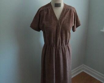 1960's Brown Textured Dress