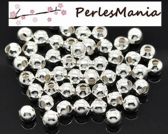 400 spacers METAL round smooth 4mm bright silver