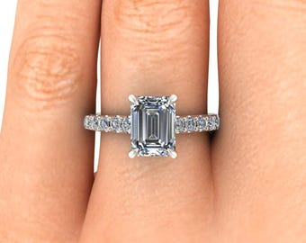 Emerald Cut Moissanite Engagement Ring, 8 x 6 mm Forever One Emerald Cut, 18k Palladium White Gold, Ethical Diamonds