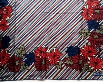 "vintage LIBERTY of London silk scarf striped & floral print 26"""