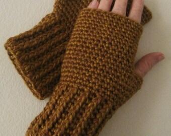 Crocheted Fingerless Gloves / Wrist Warmers - Golden Honey