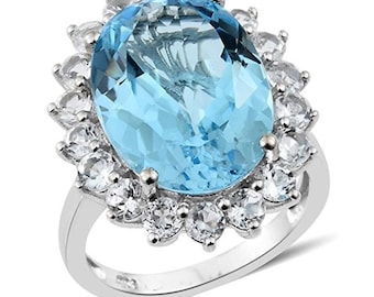 Women Platinum Plated Sterling Silver Oval Sky Blue Topaz and White Topaz Solitaire Ring Size N