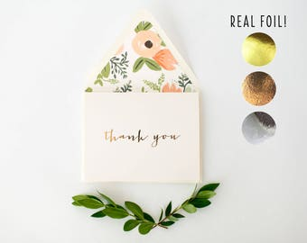 foil pressed thank you cards / wedding / bridal shower thank you cards / gold foil / rose gold foil / silver foil (sets of 10)