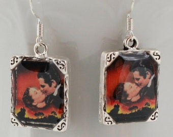 Gone with the Wind Earrings Movie Picture Earrings Silver Rhett Butler Civil War 3D Dimensional