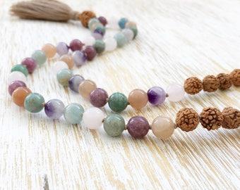 Mala Beads, Mala Necklace, Rudraksha Mala, 108 Mala Beads Necklace, Gemstone Mala: Moonstone Lepidolite Jade Amethyst Rose Quartz Aquamarine